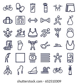 Fitness icons set. set of 36 fitness outline icons such as towels, exercising, barbell, floor scales, jump rope, slim, carpet, sport bra, pear, treadmill, running, bicycle