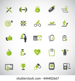 Fitness Icons set - set of fitness icons / amenities.