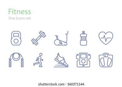 Fitness.  Icons set. Line art.  Stock vector.