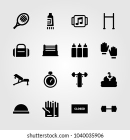 Fitness icons set. Vector illustration chronometer, bench, bosu ball and closed