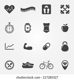 Fitness icons set - vector sport symbols