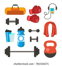 Fitness Icons Set Vector. Sport Tools Accessories. Bag, Towel, Weights, Dumbbell, Bar, Player, Boxing Gloves. Isolated Flat Cartoon Illustration