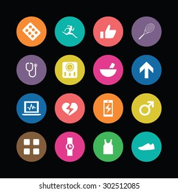 fitness icons universal set for web and mobile