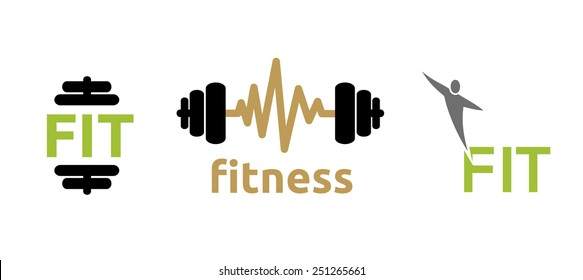 Fitness illustration icons, isolated on white
