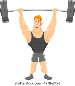 Fitness Illustration of a Muscular Man in Workout Clothes Lifting a Heavy Barbell Over His Head