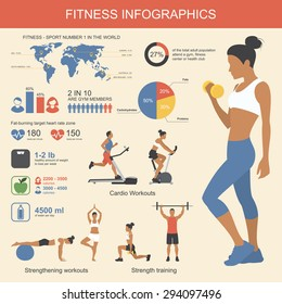 Fitness infographics elements. Vector illustration of healthy lifestyle in flat style.