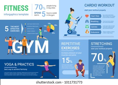 Fitness infographics illustration of people doing workout with graphs and diagrams. Flat template of repetitive training in the gym, cardio workout and yoga exercises. Healthy lifestyle presentation