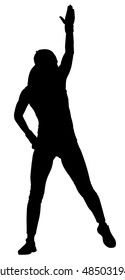 Fitness instructor vector silhouette illustration isolated on white background. Sport, training, gym and lifestyle concept.