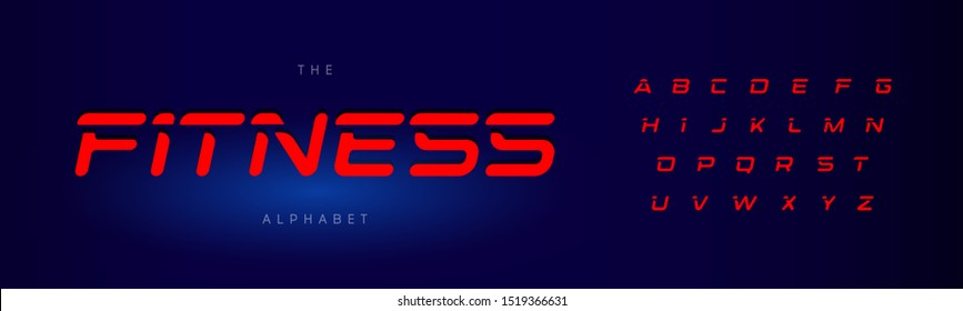 Fitness letters set. Red modern cut style alphabet on blue background. universal font for fitness, speed race, gym, workout, olympic games, auto and sport logo and posters. Vector typography design