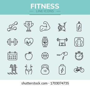 Fitness line icon set for infographic or website