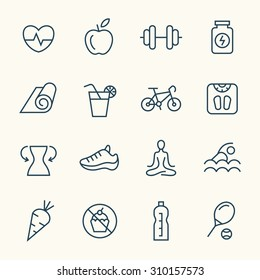 Fitness line icons - Shutterstock ID 310157573