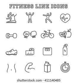 fitness line icons, mono vector symbols