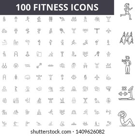 Fitness line icons, signs, vector set, outline illustration concept