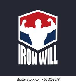Fitness logo bodybuilder silhouette vector illustration