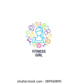 Fitness logo - fitness girl and gym tools on circle background. Color line icons of dumbbells, protein, stopwatch, punching bag, workout clothes and other. Vector illustration.