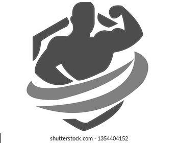 Fitness Logo  gym vector man design, strong club muscle  illustration beauty, emblem body symbol shape healthy, silhouette icon health sport concept sign, element