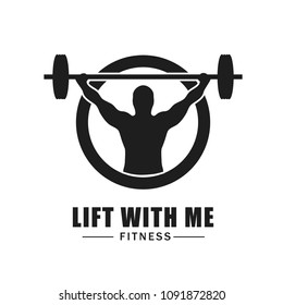 Fitness logo isolated on white background. Trendy fitness logo for web site, label, poster, placard, t shirt and banner. Useful for ads, flyer and wallpaper. Creative art concept, vector illustration