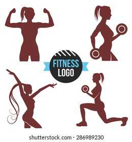 Fitness logo set. Elegant women silhouettes. Fitness club, fitness exercises concept. Vector illustration isolated on white background