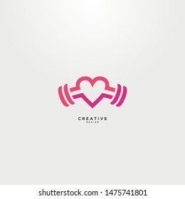 Fitness logo with a simple and elegant love concept. with a delicate and luxurious pink color.