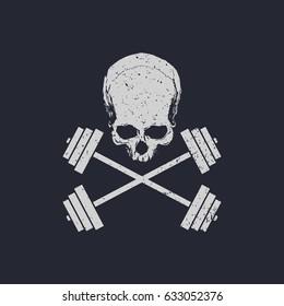 Fitness logo skull and cross weights vector illustration