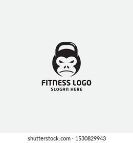 fitness logo template. gorilla, kettle bell - vector