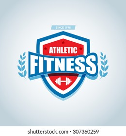 Fitness logo template. Gym club logotype. Sport Fitness club creative concept.