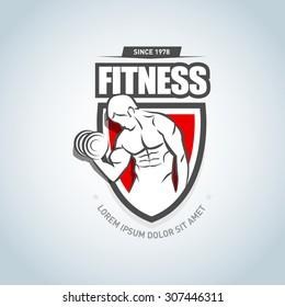 Fitness logo template. Gym club logotype. Sportsman silhouette character vector logo design template. Sport Fitness club creative concept. Bodybuilder Fitness Model Illustration, Sign, Symbol, badge.