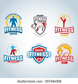 Fitness logo templates set. Gym club logotypes. Sport Fitness club creative concepts. Gym club logotypes. Bodybuilder, Sportsman Fitness Model Illustration, Sign, Symbol, badge.