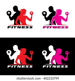 Fitness logo vector - Man and woman holding a dumbbell.