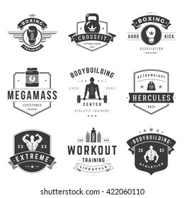 Fitness Logos Templates Set. Vector object and Icons for Sport Labels, Gym Badges, Emblems Graphics.