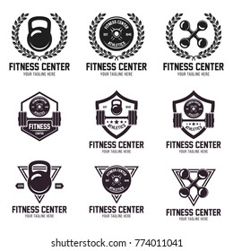 Fitness Logos Templates Set. Vector object and Icons for Sport Labels, Gym Badges, and Barbell Symbols.