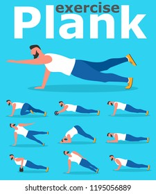 Fitness man doing planking exercise. Planksgiving challenge banner. Athlete standing in plank position vector illustration. Sporty strong man character in flat style. Yoga exercise for posture.