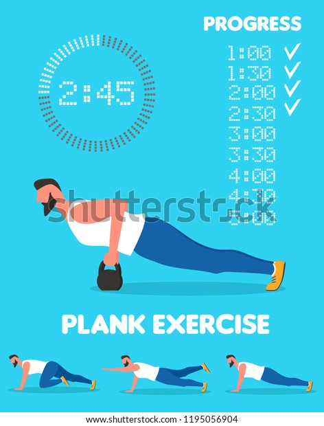 Fitness Man Doing Planking Exercise Planksgiving Stock Vector Royalty Free 1195056904