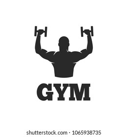 Fitness man with dumbbells logo template isolated on white background