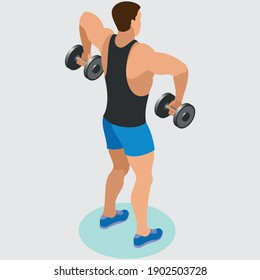 Fitness man and woman doing exercise. Workout girl and guy vector  illustration isolated on a white background. Healthy lifestyle set.