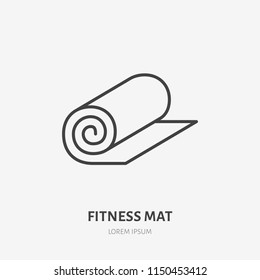 Fitness mat roll flat line icon. Yoga carpet sign. Thin linear logo for sport equipment store.