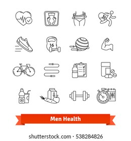Fitness & men health. Thin line art icons set. Workout, healthy food, diet, slimming. Linear style symbols isolated on white.