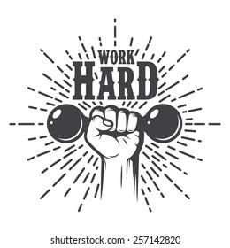 Fitness motivation poster. Monochrome style