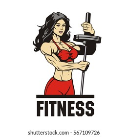 fitness muscle girl with barbell, vector illustration
