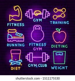 Fitness Neon Label Set. Vector Illustration of Sport Promotion.