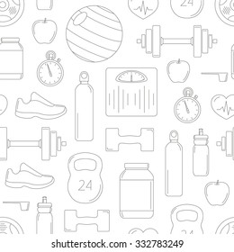 Fitness objects contour pattern: ball, stopwatch, dumbbells, barbells, shoes, weight scales, protein, vitamins, bottle, apple, heart, sports bottle; Vector seamless sport background