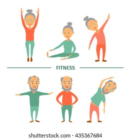 Fitness for older persons.Complex Exercise. Sport. Set of cartoon characters. Grandparents doing gymnastics.Style flat.