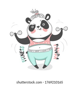 Fitness panda in sport clothes, design for your t-shirt, poster, cup, bag and other/ vector EPS 10