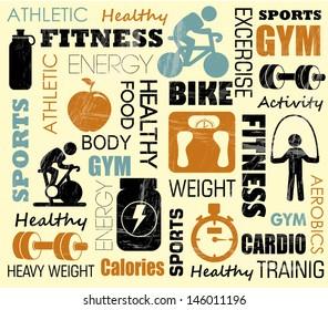 fitness pattern over pink background vector illustration