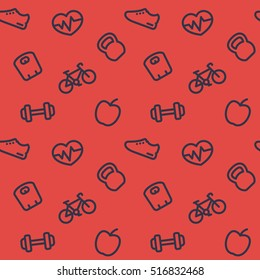 fitness pattern, seamless background with fitness icons on red