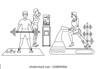 Fitness people cartoon in black and white