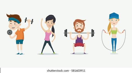 Fitness people training. Vector illustration set