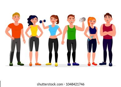 Fitness people vector illustration in flat design. Athletes in workout gym cartoon characters isolated on white background. Group of people dressed in sports clothes with dumbbells.