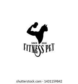 Fitness Pet animal dog cat logo design