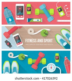 Fitness, physical exercise, weight loss and technology banners set with sports equipment, weight scale, smartphone and watch